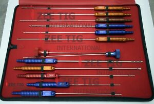 Liposuction Cannula Set Of 11pcs Fixed Handle With 2 60cc Hub