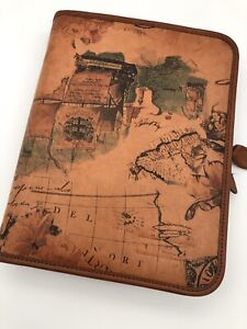 Portable Day timer Map Leather 1 Rings Planner 590