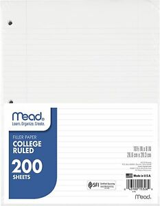 Mead Loose Leaf Paper College Ruled 200 Sheets 3 Hole Punched For 3 Ring Binder