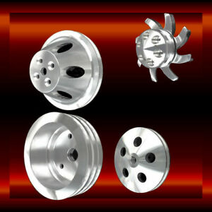 396 427 454 Billet Big Block Chevy Short Water Pump 4 Pulley Set Bbc V groove