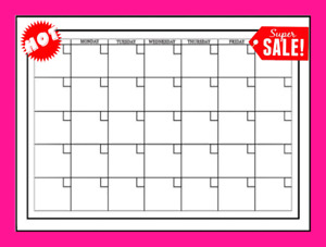 Monthly Wall Calendar Planner One Month Dry Erase Board White Large Home 24x17 5