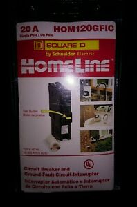Square D Homeline Hom120gfic 20a Single Pole Circuit Breaker Gfci New
