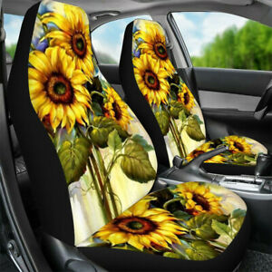 Universal Car Seat Cover Sunflower Auto Suv Front Bucket Seat Protector Interior