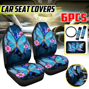 6pcs Car Seat Covers Full Set Butterfly Leather Universal 1pc Front Seat Cover