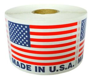 Made In Usa Flag Pre printed Labels Stickers 2 X 3 1 Roll Of 500