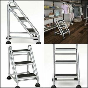 Cosco 3 Step Rolling Step Ladder Grey 4 Rolling Casters With Plastic Floor Grips