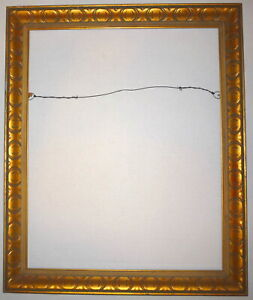 1950 S Gold Mid Century 20 X 16 Deep Wood Pressed Design Picture Frame 2