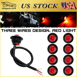 10x Red 3 4 Led Brake Tail Lights 3 Wires Dual Function Auxiliary Trailer Truck
