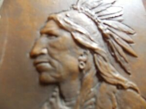 Antique Solid Bronze Wall Plaque American Indian Ca 1900 Signed He