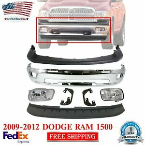 Front Bumper Chrome Upper Cover Valance Fogs For 2009 2012 Dodge Ram 1500