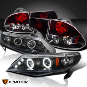 Fits 2006 2011 Honda Civic 4dr Led Halo Projector Headlights black Red Tail Lamp