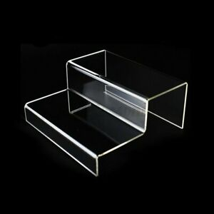 2 Tier Step Acrylic Display Riser Stand Jewellery Shoes Retail Counte
