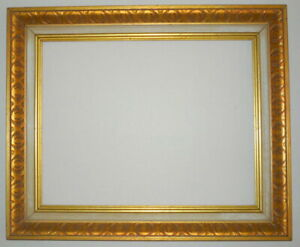 1950 S Gold Mid Century 18 X 14 Deep Wood Pressed Design Picture Frame