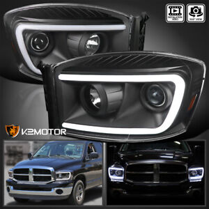 For 2006 2008 Dodge Ram 1500 2500 Blk Projector Headlights Switchback Led Lamps