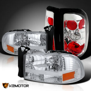 Fits 1997 2004 Dodge Dakota Pair Clear Headlights Tail Lamps Replacement Pair