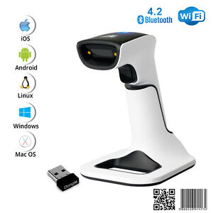 1d 2d Wireless Bluetooth Barcode Scanner 3 in 1 With Stand Usb Qr Code Reader