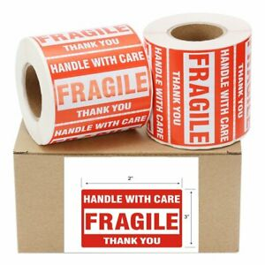 12 Rolls 500 roll 2x3 Fragile Stickers Handle With Care Thank You Warning Labels
