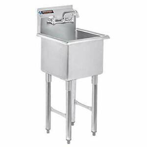 Durasteel Stainless Steel Prep Utility Sink 1 Compartment Commercial Kitc