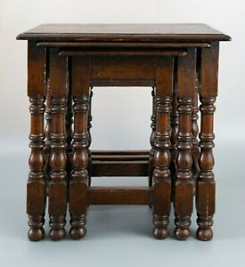 Antique 19th Century English Oak Pegged Nesting Joint Stools Tables Set Of 3