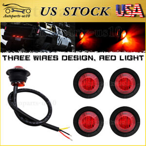 Submersible Trailer 3 Wires 3 4 Red Led Tail Truck Auxiliary Brake Lights 5x