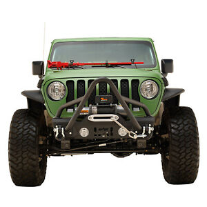 Off Road Stinger Front Bumper Stubby With Winch Plate Fit For 2018 2021 Jeep Jl