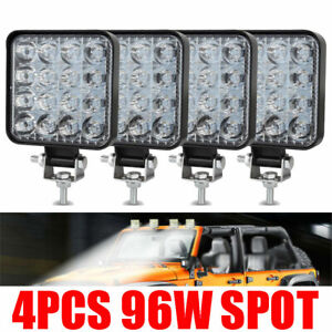 4pcs 96w Led Work Light Spot Lights For Truck Off Road Tractor Atv Square Usa 20