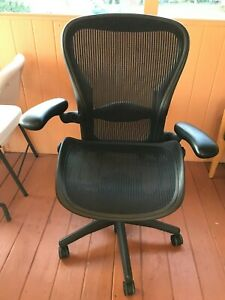 Herman Miller Fully Loaded Size Aeron Black Chair With Mesh Top