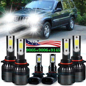 For Jeep Grand Cherokee 1999 2000 2001 2002 2003 2004 6led Headlight Fog Lights