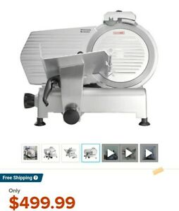 Commercial Electric Meat Slicer With Push Cart Silver