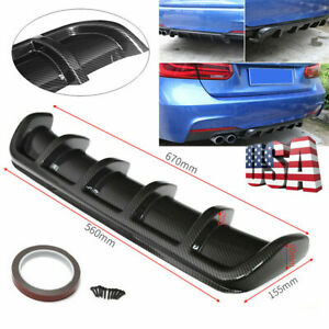 26 X5 Abs Carbon Fiber Look Shark Fin 6 Wing Diffuser Rear Bumper Lip Universal