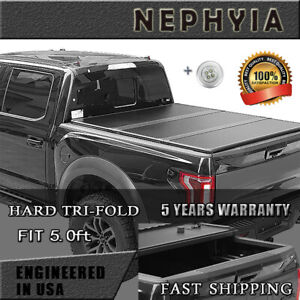 Hard Tri fold Nissan Tonneau Cover For 2005 2019 Frontier 5 0 Ft Truck Bed Frp