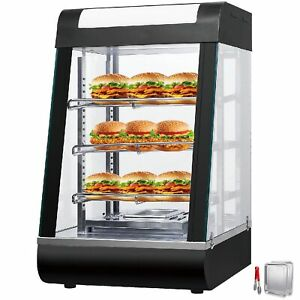 Commercial Food Warmer Court Heat Food Pizza Display Warmer Cabinet 15inch Glass