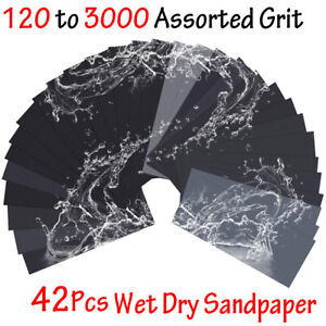 Sandpaper Sheets Assorted Grit Sand Paper Sanding Wet Dry Wood Automotive Metal