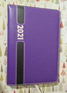 2021 Tabs Daily Hourly Purple Blak Faux Leather 8 5x6 Planner Gregorian Contacts