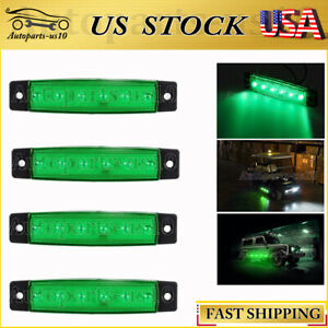 4x Green 3 8 Led Marker Lights For Truck Trailer Boat Neon Side Clearence Light