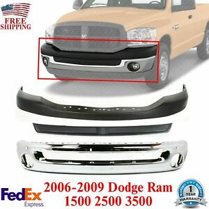Front Bumper Chrome Filler Upper Cover Textrd For 06 09 Dodge Ram 1500 3500