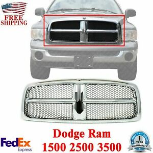 Front Grille Chrome Shell And Insert For 2002 2005 Dodge Ram 1500 2500 3500