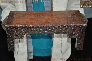 Collect Old Chinese Huanghuali Wood Hand Carved Coffee Table Desk Wooden Table