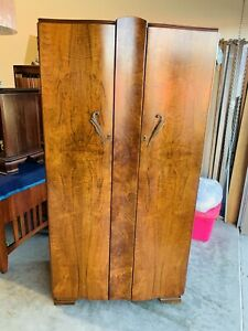 Beautiful Antique English Art Deco Waterfall Closet Wardrobe Armoire Cabinet