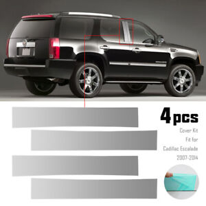 4x Silver Pillar Posts Door Trim Cover Kit Fit For Cadillac Escalade 2007 14