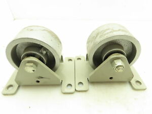 Cast Iron Rigid Caster Wheels 4 x 2 4 1 2 X 6 Mounting Plate Lot Of 2