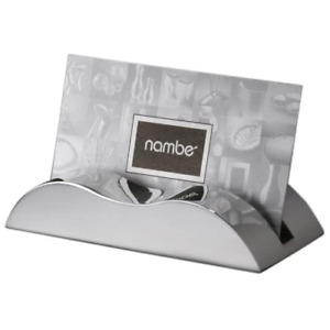 Nambe Wave Business Card Holder Great For Office Desks Alloy Metal Silver