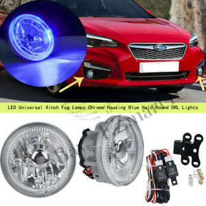 Led Universal 4inch Fog Lamps Chrome Housing Blue Halo Round Drl Lights W Bulbs
