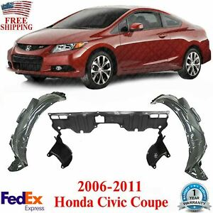 Front Fender Liners Engine Splash Guard For 2006 2011 Honda Civic Coupe