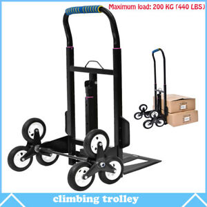 440 Lbs Cart Folding Dolly Collapsible Trolley Push Hand Truck Moving W 6 Wheels