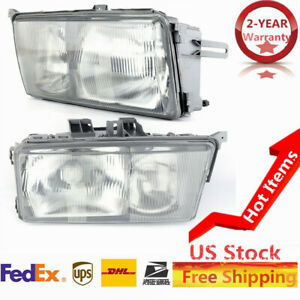 Right Left Side Headlights Pair Clear Euro Lights For Mercedes Benz 190e 190d