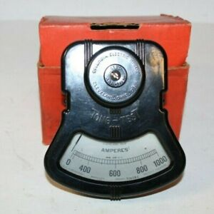 Columbia Electric Mfg Vintage Ammeter Tong test 0 1000 Amperes Steam Punk