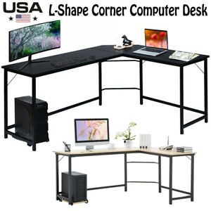 L shape Corner Computer Desk Pc Laptop Study Table Home Office Desk Workstation
