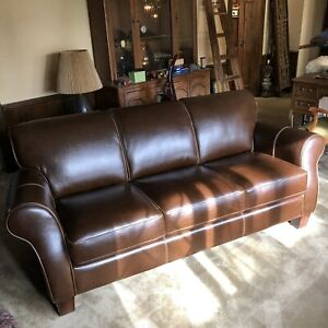 Divani Chateau D Ax Brown Italian Leather Sofa Circa 2005