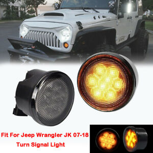 Pair Amber Led Turn Signal Lights Fit For 2007 2018 Jeep Wrangler Jk Smoke Lens